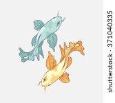 two hand drawn japanese carp koi   Shutterstock .eps vector #371040335