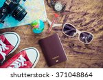 travel accessories for trip | Shutterstock . vector #371048864