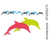 two lovers dolphin. vector... | Shutterstock .eps vector #371054171