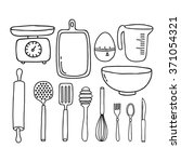 doodle icon. kitchen... | Shutterstock .eps vector #371054321