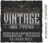 vintage label typeface  with... | Shutterstock .eps vector #371059289