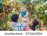 a happy family smiling together ... | Shutterstock . vector #371063504