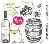 wine set. winemaking products... | Shutterstock .eps vector #371063915
