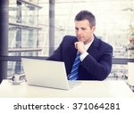 busy businessman in suit... | Shutterstock . vector #371064281
