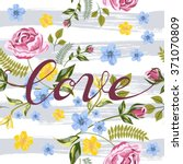 vector seamless roses floral... | Shutterstock .eps vector #371070809