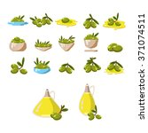 olives icons set with tree oil... | Shutterstock .eps vector #371074511