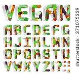 vegan font. white shelves... | Shutterstock .eps vector #371075339