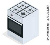 white gas stove. vector 3d flat ... | Shutterstock .eps vector #371083364