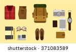 travel plan concept flat lay... | Shutterstock .eps vector #371083589