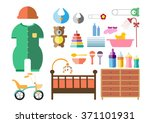 baby shower icons set  flat... | Shutterstock .eps vector #371101931