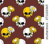 Daisy And Skull Seamless...