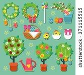 easter set   holiday floristic... | Shutterstock .eps vector #371115515