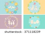 collection of cutest cards with ... | Shutterstock .eps vector #371118239