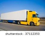yellow white blank truck