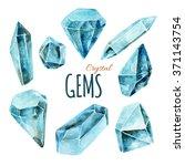 watercolor crystal gems... | Shutterstock . vector #371143754