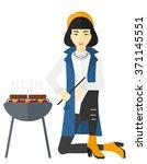 woman preparing barbecue.   Shutterstock .eps vector #371145551