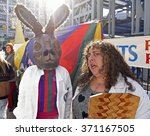 Small photo of NEW YORK CITY - JANUARY 30 2016: the 12th annual Idiotard race began in Manhattan's LES & ended in Gowanus, Brooklyn. Idiot Labs judge Oriana with rabbit-headed team member