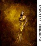 woman fashion model gold dress  ... | Shutterstock . vector #371173601