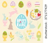 vector happy easter set... | Shutterstock .eps vector #371177429