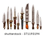 set of 10 colored knives.... | Shutterstock .eps vector #371193194