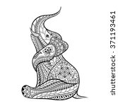 Hand Drawn Ethnic Elephant In...