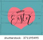 hand sketched happy easter text ... | Shutterstock .eps vector #371195495