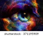 Woman Eye And Cosmic Space Wit...