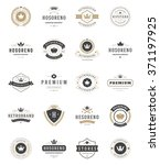 vintage crowns logos set.... | Shutterstock .eps vector #371197925