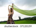 pretty girl holding cloth...   Shutterstock . vector #37120159