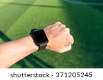 close up hands of man using his ... | Shutterstock . vector #371205245