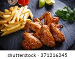 fried chicken wings with potato ... | Shutterstock . vector #371216245