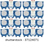 background with blue elephants | Shutterstock .eps vector #37124071