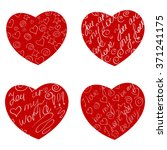 set hearts with inscriptions. | Shutterstock .eps vector #371241175