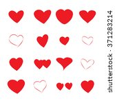 set of red hearts isolated on... | Shutterstock .eps vector #371283214