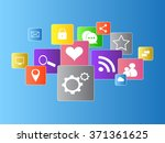 social media icons flat vector... | Shutterstock .eps vector #371361625