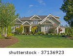 lovely house with lush green...   Shutterstock . vector #37136923