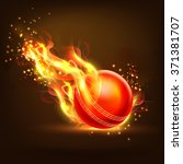 creative glossy ball in fire on ... | Shutterstock .eps vector #371381707