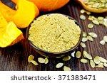 pumpkin flour in a bowl  peeled ... | Shutterstock . vector #371383471