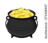 vector black pot of gold coins... | Shutterstock .eps vector #371408947