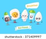 healthy breakfast. funny... | Shutterstock .eps vector #371409997