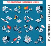 telemedicine isometric icons... | Shutterstock .eps vector #371411635