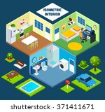 isometric interior concept with ... | Shutterstock .eps vector #371411671