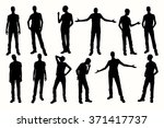 posing man silhouettes. vector... | Shutterstock .eps vector #371417737