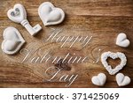 chalk heart and key on wood and ... | Shutterstock . vector #371425069