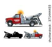 towing truck side view. cartoon ... | Shutterstock .eps vector #371444455