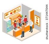 isometric fast food restaurant  | Shutterstock .eps vector #371447044