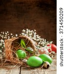 Painted Green Easter Eggs...