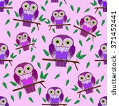 seamless pattern. colorful owl... | Shutterstock .eps vector #371452441