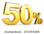 golden percentage on a white... | Shutterstock . vector #371455285
