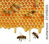 flow of sweet honey on the... | Shutterstock . vector #371458201